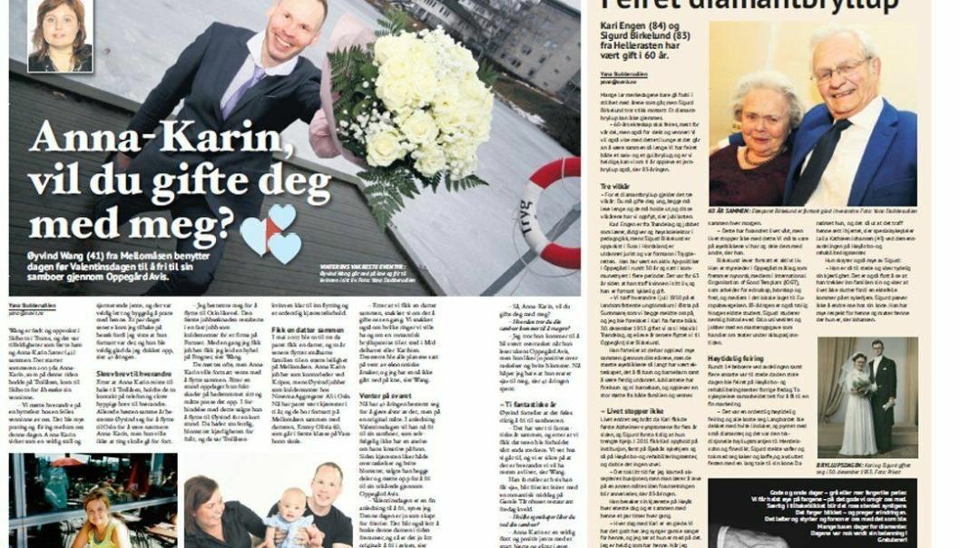 HUN SA JA: Anna-Karina Sæter fikk Oppegård Avis i fanget og sa ja til det spesielle frieriet.