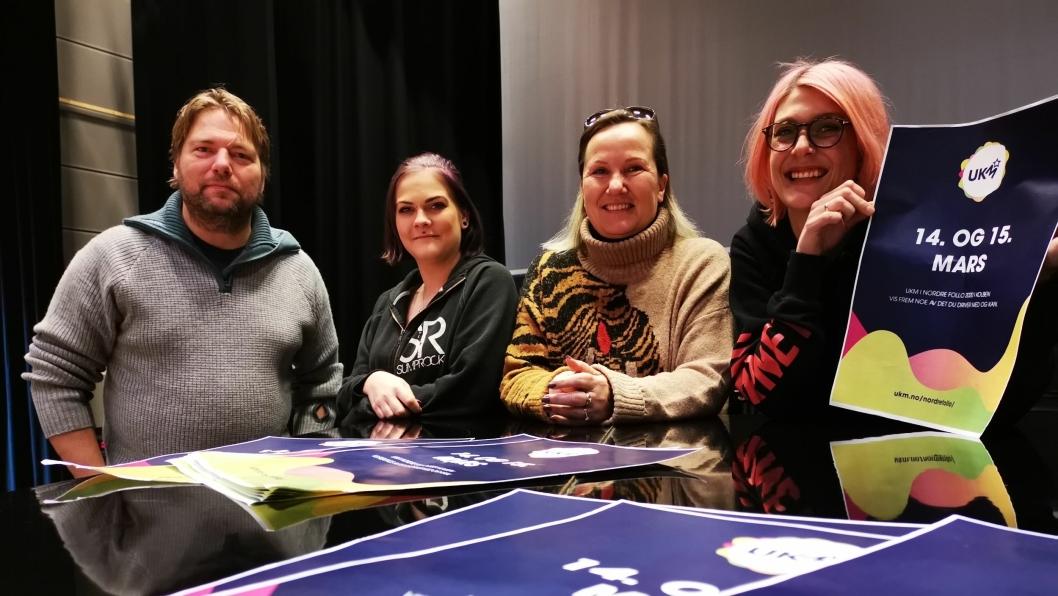 UKM 2020: Arrangører av Nordre Follo UKM, Christian Lund (f.v), Tuva Watz Thorsen, Vigdis Haga og Linn Hattvang, håper mange melder seg på årets UKM.
