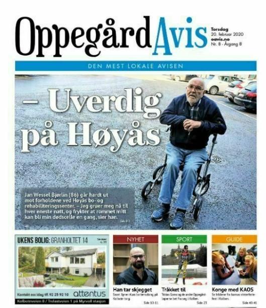 STO FREM: Pasient Jan Wessel Bjørlin gikk hardt ut mot forholdene ved Høyås.