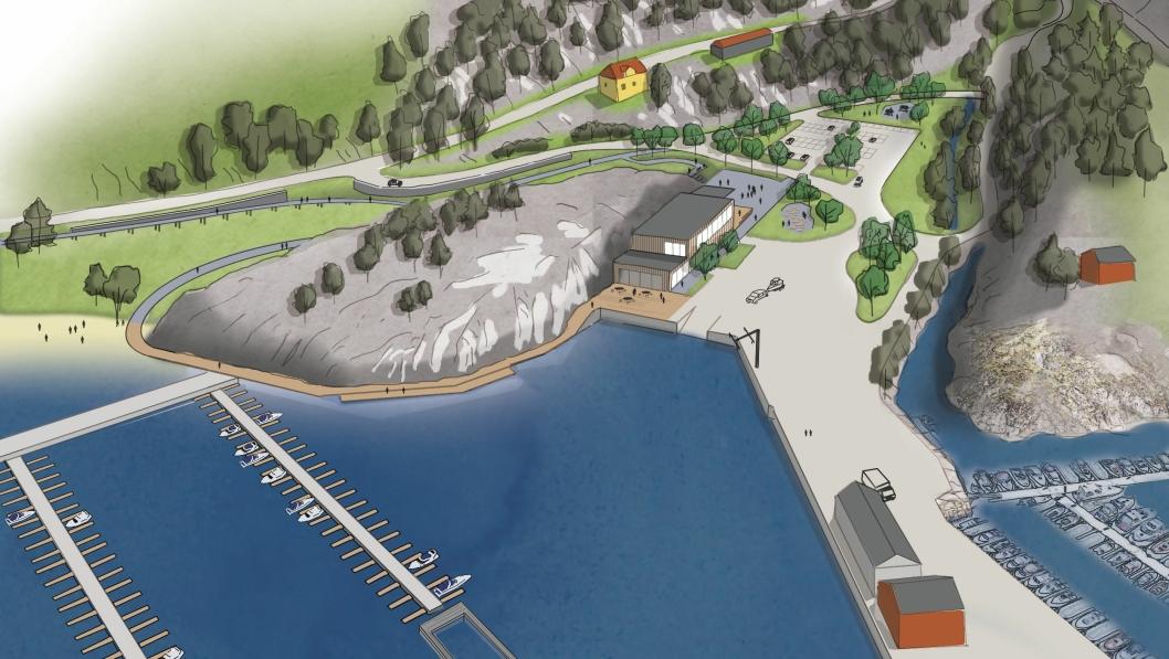 SLIK KAN DET BLI: Denne illustarasjonen viser på venstre side de nye båtplassene som er foreslått etablert, samt fjordsenter, grøntareal og parkering der opplagsplassen til Oppegård Båteforening er i dag.