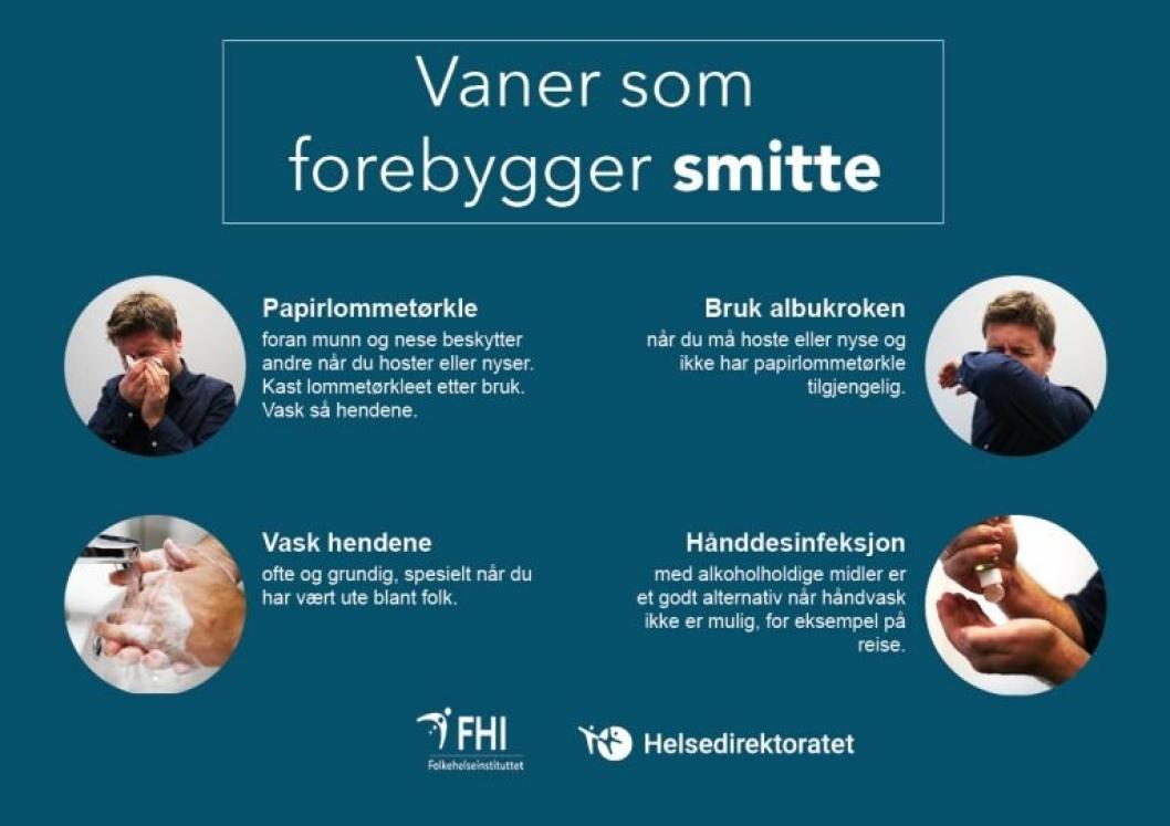 Plakat: Vaner som forebygger smitte.