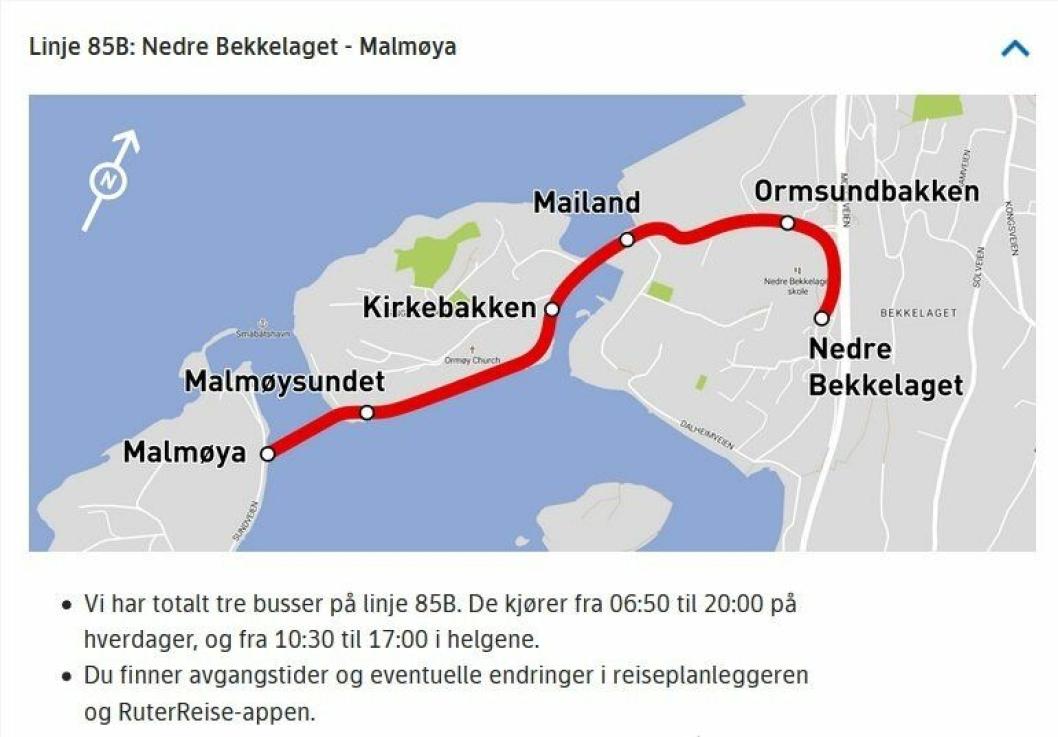 LINJE 85B: Linje 85B på Ormøya mellom Nedre Bekkelaget og Malmøya har også vært betjent med to selvkjørende busser. Holdeplassene er de samme som benyttes av 85-bussen: Ormsundbakken, Mailand, Kirkebakken, Malmøysundet og Malmøya. I tillegg stopper bussene på en ny holdeplass ved parkeringsplassen mellom skolen og bensinstasjonen. Denne holdeplassen heter «Nedre Bekkelaget».