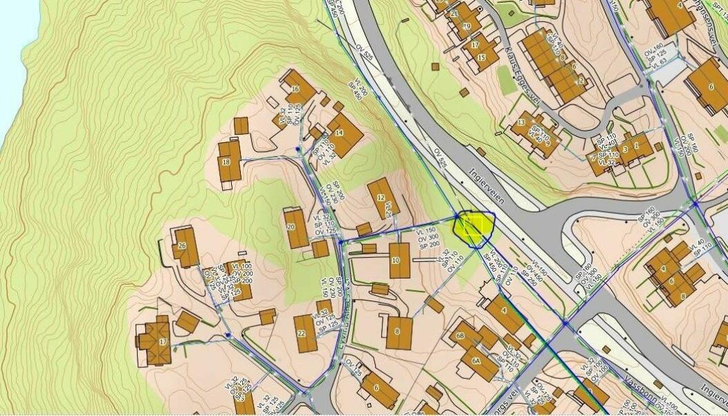 REPARERTE LEKKASJEN RETT ETTER PÅSKE: Kartutsnittet (merket med et gult område) viser det aktuelle området.