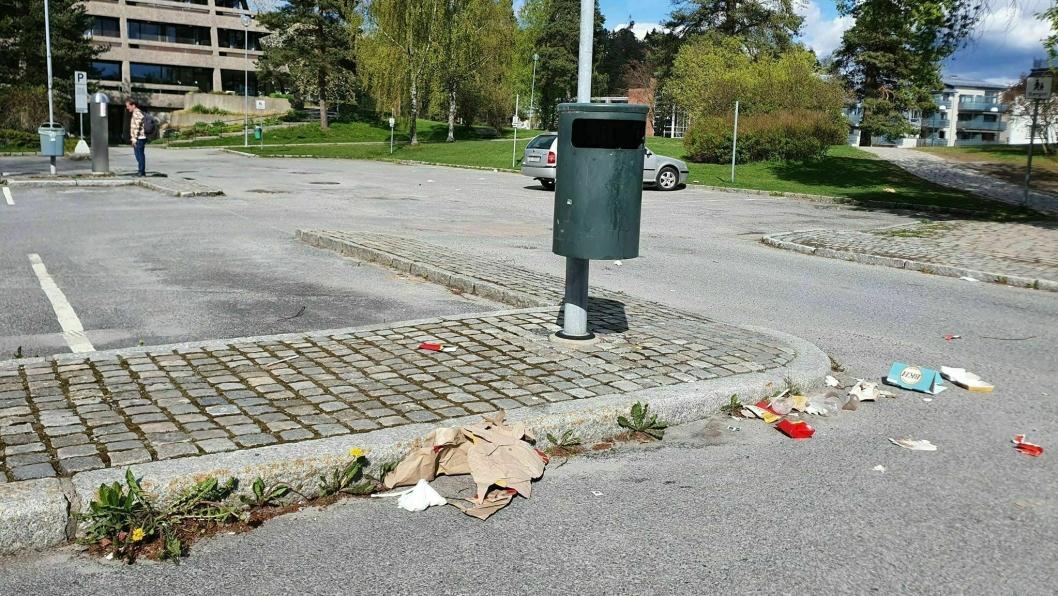 UGRESS OG SØPPEL: Det var søppel og ugress på parkeringsplassen utenfor Oppegård rådhus 2. mai.