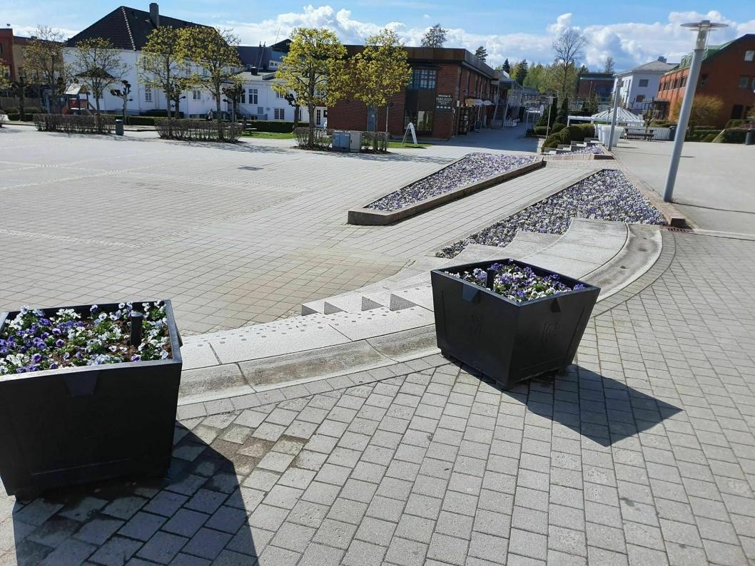 BUGNER AV BLOMSTER: Området foran rådhuset i Ski sentrum bugner av blomster.