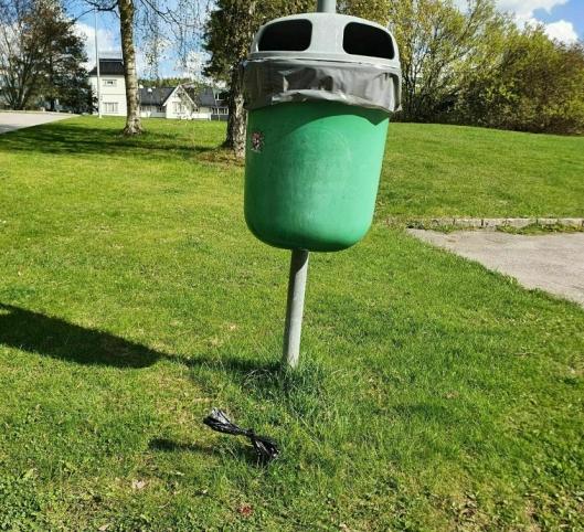 HUNDEPOSER SLENGT UTENFOR: En hundeeier plukket opp etter hunden sin, men kastet posen med avføringen rett utenfor søppelkassen.