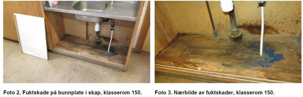 AVDEKKET FUKTSKADER: Bildet viser skadet bunnplate i skap under vask i klasserom 150 i paviljong 3.