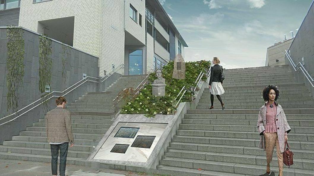 NYTT MINNESTED: Her, mellom trappene ved inngangen til Kolbotn torg på Jan Baalsrud plass, skal det etableres et nytt minnested som skal inneholde bautaen fra Taraldrud gård, de tre minneplatene fra rådhusparken og en byste av Jan Baalsrud.