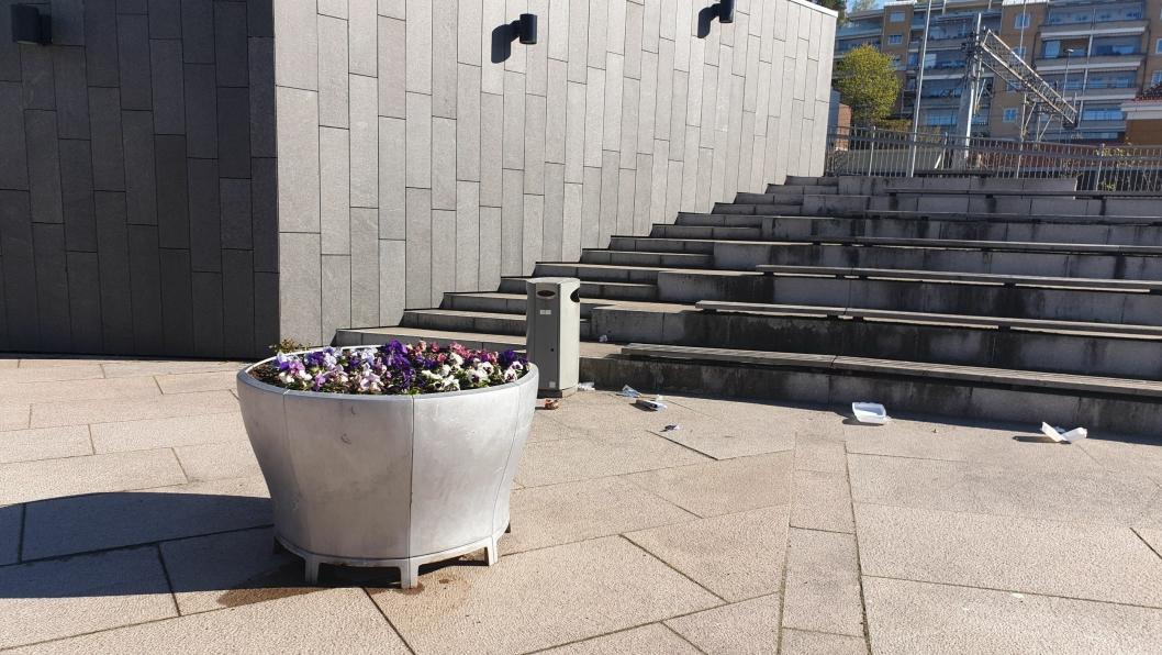 KONKURRERER MED SØPPEL: Bildet viser at de fine blomstene på Jan Baalsruds plass får konkurranse.