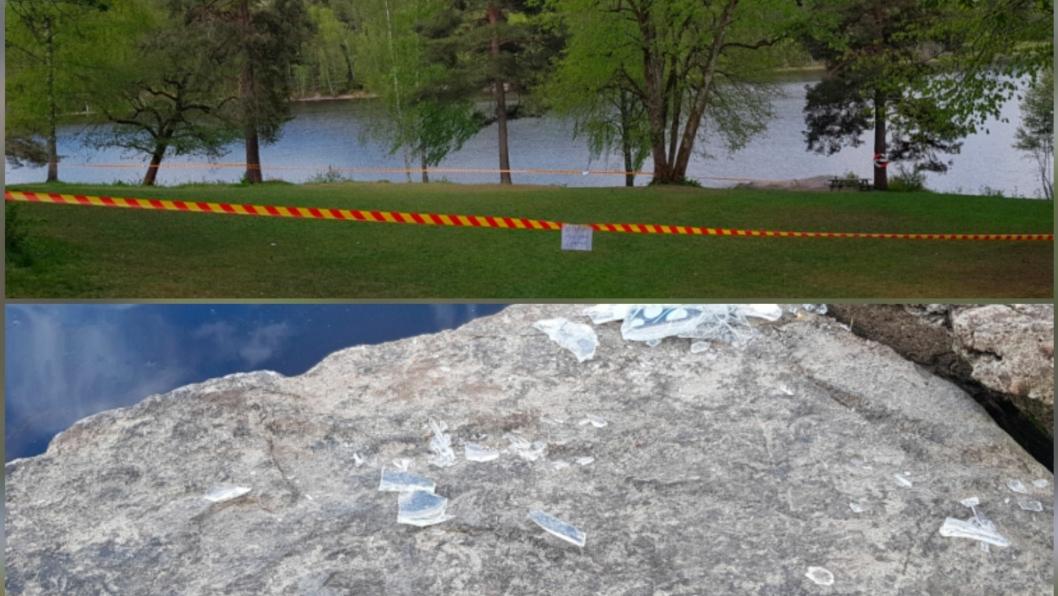 GLASS OVERALT: Per Kristiansen valgte å sperre av gressområdet på Tusse mandag. Friområdet var fullt av knust glass.