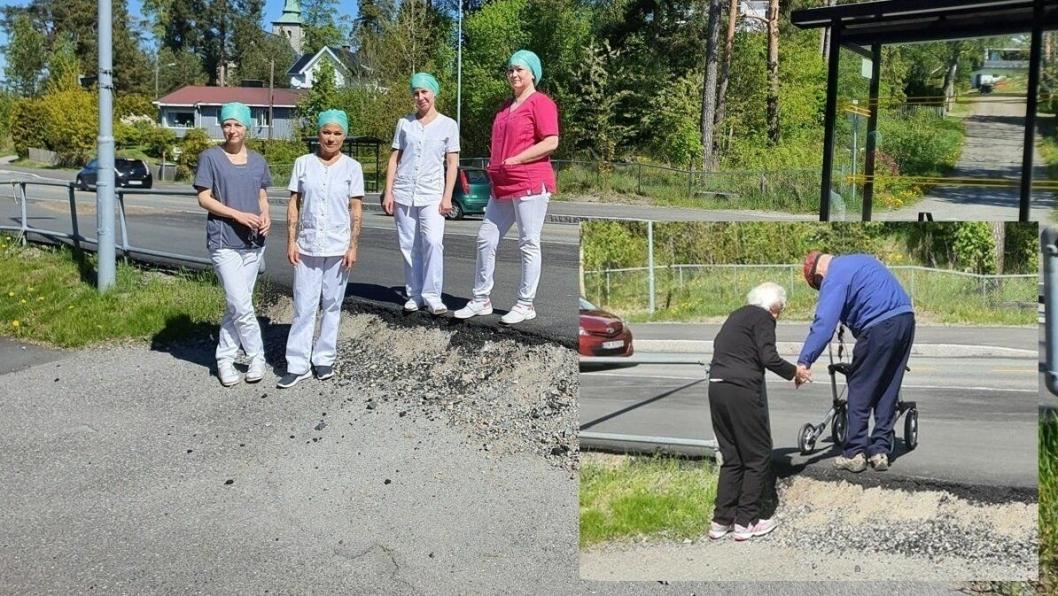 DÅRLIG FREMKOMMELIGHET: Tannlegene og daglig leder Julie Tande Liabø ved Tannlegeriet Liabø i Sønsterudveien 2 (ytterst til høyre) håper den høye kanten opp til veien skal fjernes slik at ingen pasienter og andre trafikanter skader seg på stedet. Innfelt bilde: Thor Bettum (84) og kona Synnøve (89) slet med å komme opp og ned den bratte kanten.