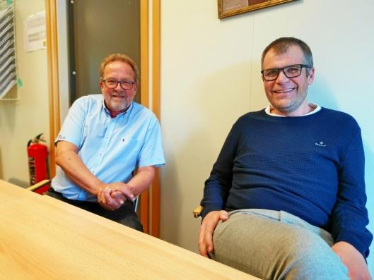 LEDER PROSJEKTET: Per Magne Betten (t.v.) er prosjektleder i Nordre Follo kommune, mens Vidar Thormodsen har samme tittel hos entreprenøren AF Bygg.