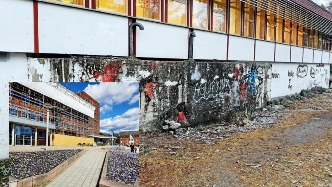SPØRSMÅL RUNDT PRIORITERINGER: Sofiemyr skole har vært forsømt i mange år. Slik ser en av de skolepaviljongene ut i dag. Innfelt bilde viser Nordre Follo rådhus.