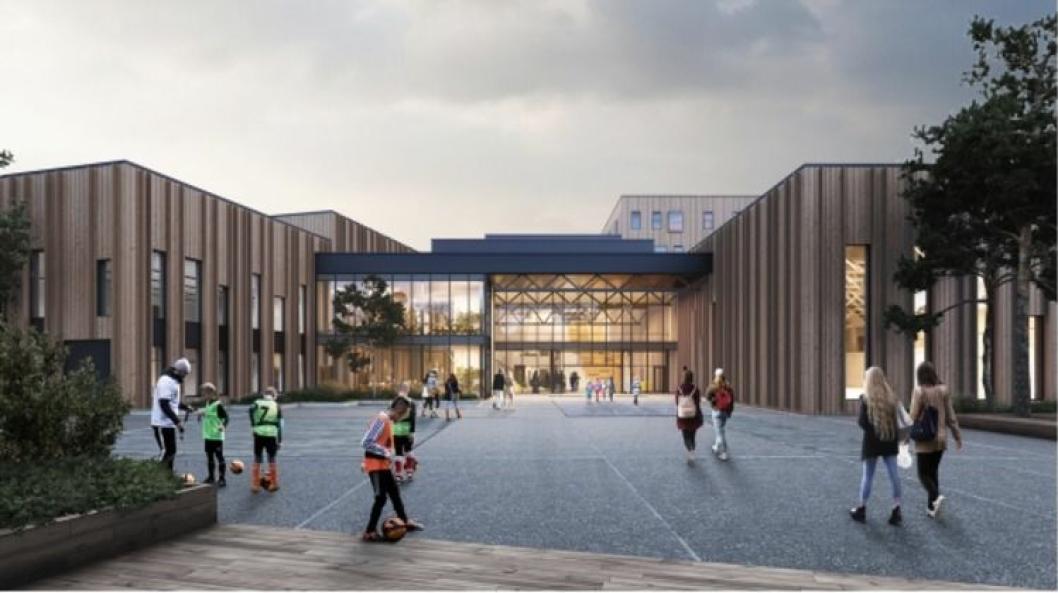 SKULLE ÅPNES I 2022: Det er planlagt en ny ungdomsskole på Sofiemyr for 630 elever. Ungdomsskolen skal erstatte dagens ungdomsskoler på Fløysbonn og Hellerasten. I tilknytning til bygging av skolen, er det planlagt for bygging av idrettshaller med fire spilleflater.