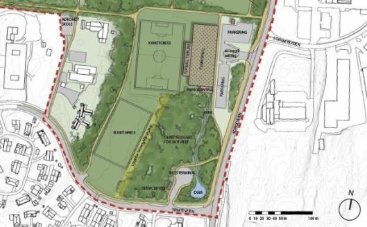 DETTE ER PLANEN: På bildet ser du den nederste delen av illustrasjonsplanen for den vedtatte områdereguleringen på Sofiemyr. Tømtebanen kunsgress er tegnet helt nederst i Sofiemyr idrettspark.
