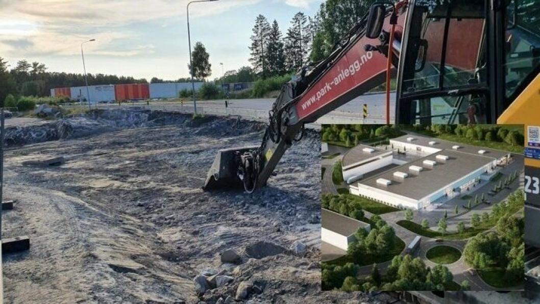 FERDIG I FØRSTE KVARTAL 2021: Park & Anlegg AS jobber med veiprosjektet for grunneieren, SpareBank 1. De skal bygge en ny rundkjøring med tilhørende vegarmer og nye adkomstveier. Den nye rundkjøringen skal erstatte dagens T-kryss i Taraldrudveien, Sam Eydes vei og Sofiemyrveien. Nord for brannstasjonen skal det etableres en ny kommunal adkomstvei til Sofiemyrveien 10-16.