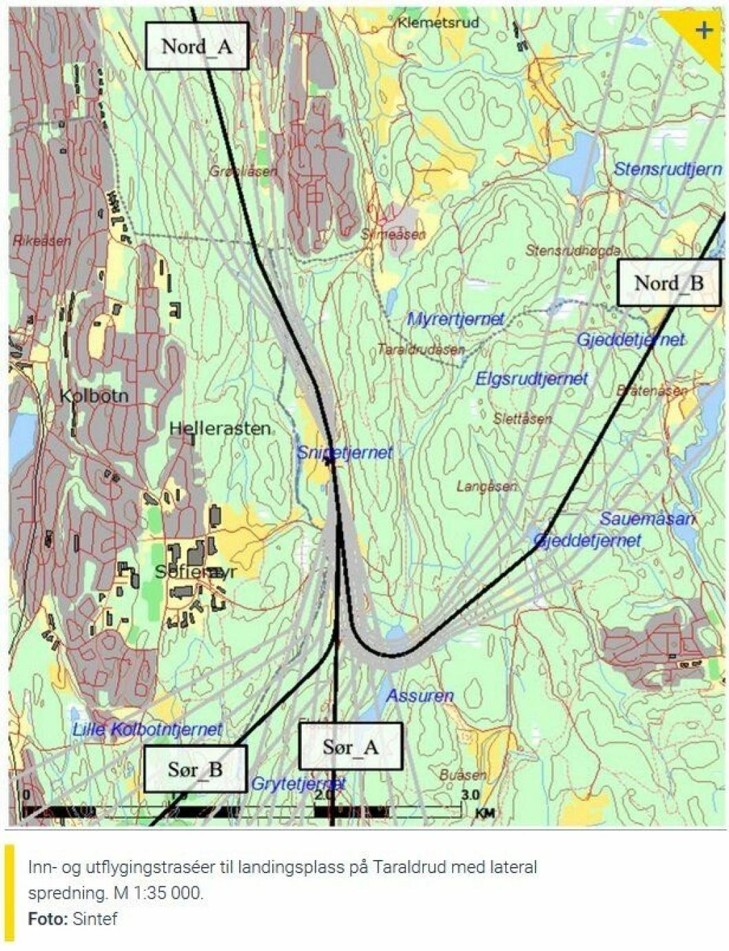HELIKOPTERTRASEER: Kartet viser inn- og utflygingstraséer for helikopter ved politiets nasjonale beredskapssenter.