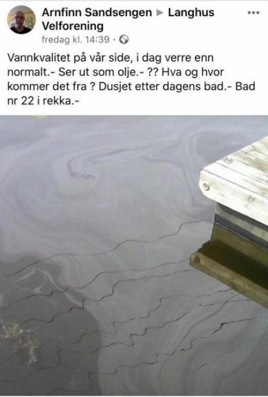 VARSLET KOMMUNEN: Langhus Velforening fikk melding om oljesølet fredag ettermiddag og meldte det videre til kommunens miljøavdeling samme dag.