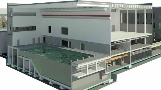 BØLGER I BASSENG: Treningsbygget er en del av hovedbygget på PNB og inneholder det alle ansatte trenger for generell trening, blant annet et 25-meters basseng. Det er 5,7 meter dypt og har bølgefunksjon som gir mer realistisk trening.