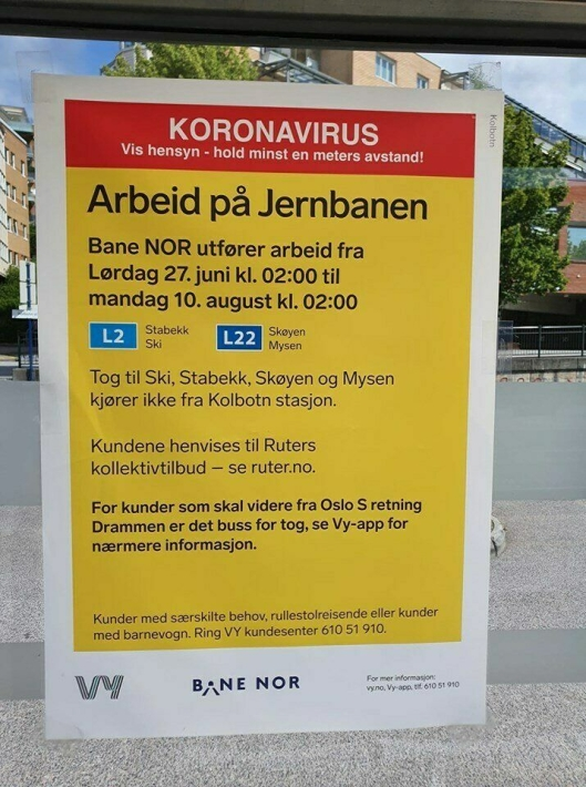 BUSS FOR TOG: Det er buss for tog på strekningen fra Oslo til Ås for tiden.