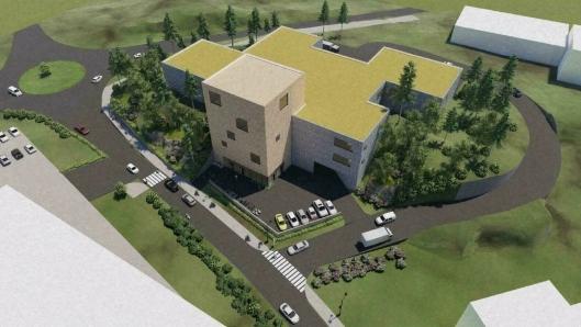 SLIK KAN DET SE UT: Det foreslås å rive eksisterende bygg og erstatte det med et hovedbygg på tre etasjer og et tilhørende punktbygg på fem etasjer.