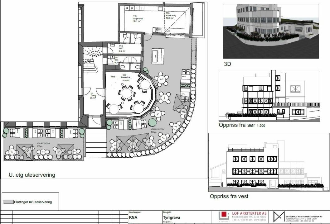 SLIK KAN DET BLI: Tegningen viser hvordan prosjektansvarlige ser for seg utformingen av den omsøkte uteserveringen med mindre tilbygg for kiosk-salg på Tyrigrava. Skisse: LOF Arkitekter AS, Metropolis arkitektur & design AS