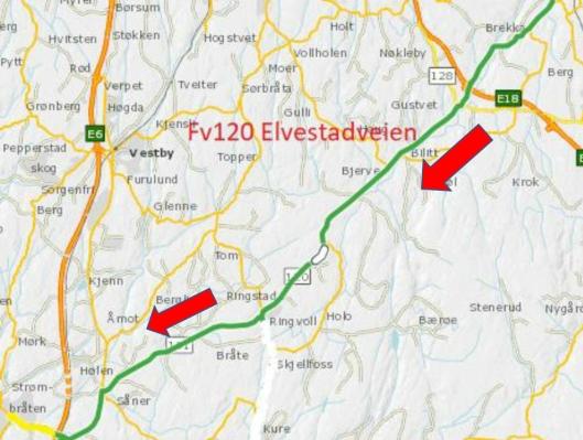 OMKJØRING: Kart fra Viken Fylkeskommune og Statens vegvesen som viser omkjøringen når E18 stenges.