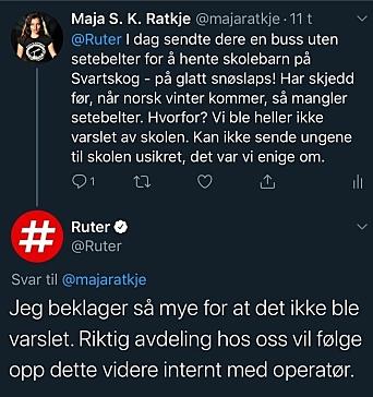 TAR OPP MED RUTER: Lokalpolitiker Maja S. K. Ratkje (MDG) fra Svartskog har selv to skolebarn. Hun kjemper for barnas sikkerhet og er sporadisk i kontakt med Ruter på Twitter. Her kan du se meldingene hennes til Ruter fra tidligere i år (før sommerferien).