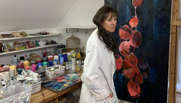 ATELIER HJEMME: Stine Vogt har sitt atelier hjemme i Ormerudveien på Kolbotn.
