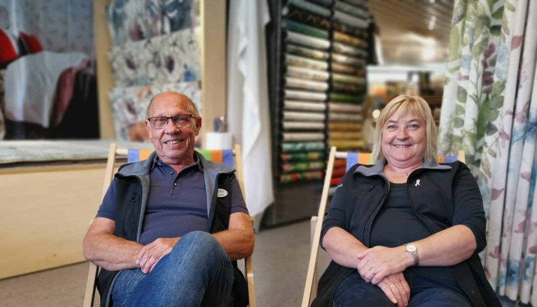 FARGERIKT EKTESKAP: Sven Gudbrandsen og kona Lisbeth Hellevik driver Fargerike Kolbotn sammen.