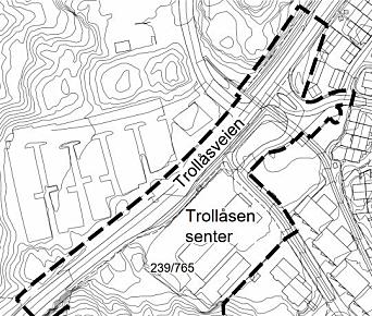 KARTUTSNITT: Kartet viser det aktuelle planområdet på Trollåsen.