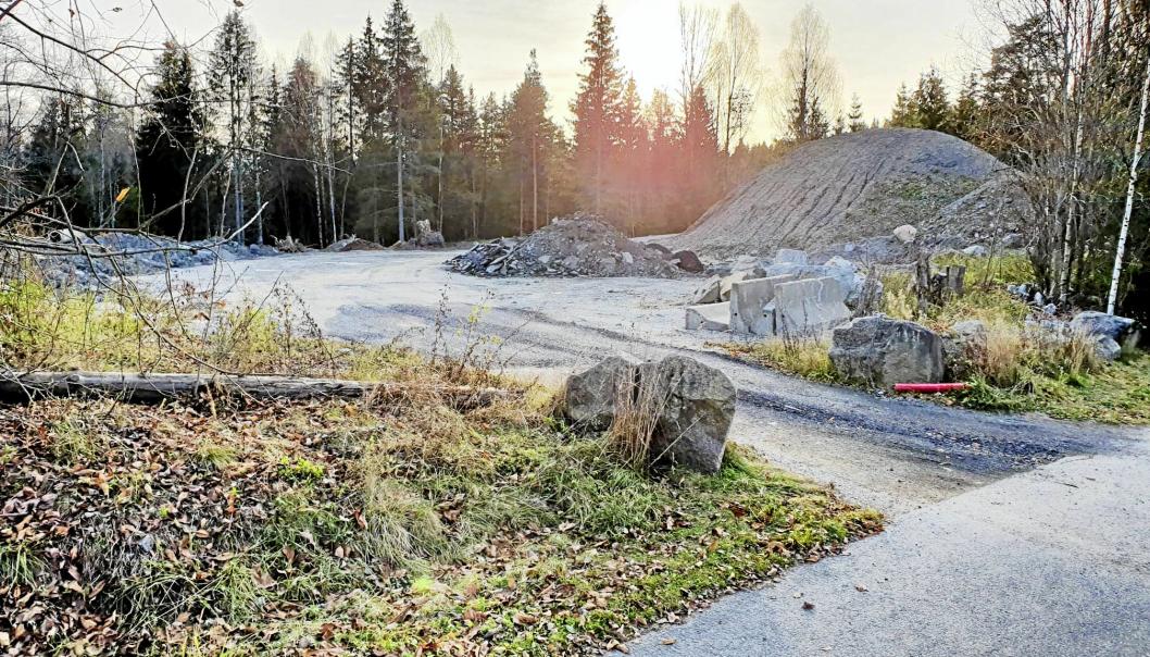 NÆRMESTE NABO TIL SNØDEPONIET: Den aktuelle delen av Ødegård skog, som kommunen ønsker å selge til utbygging, ligger like bak kommunens snødeponi i Tverrveien. Foto: Yana Stubberudlien