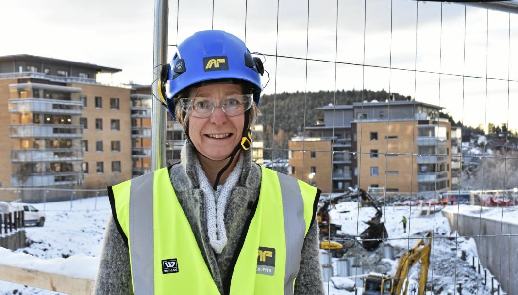 VIRKSOMHETSLEDER: Aud Val er virksomhetsleder for byggeprosjekter i Nordre Follo kommune. Dette bildet er fra byggingen av Kolbotn omsorgsboliger i 2017.