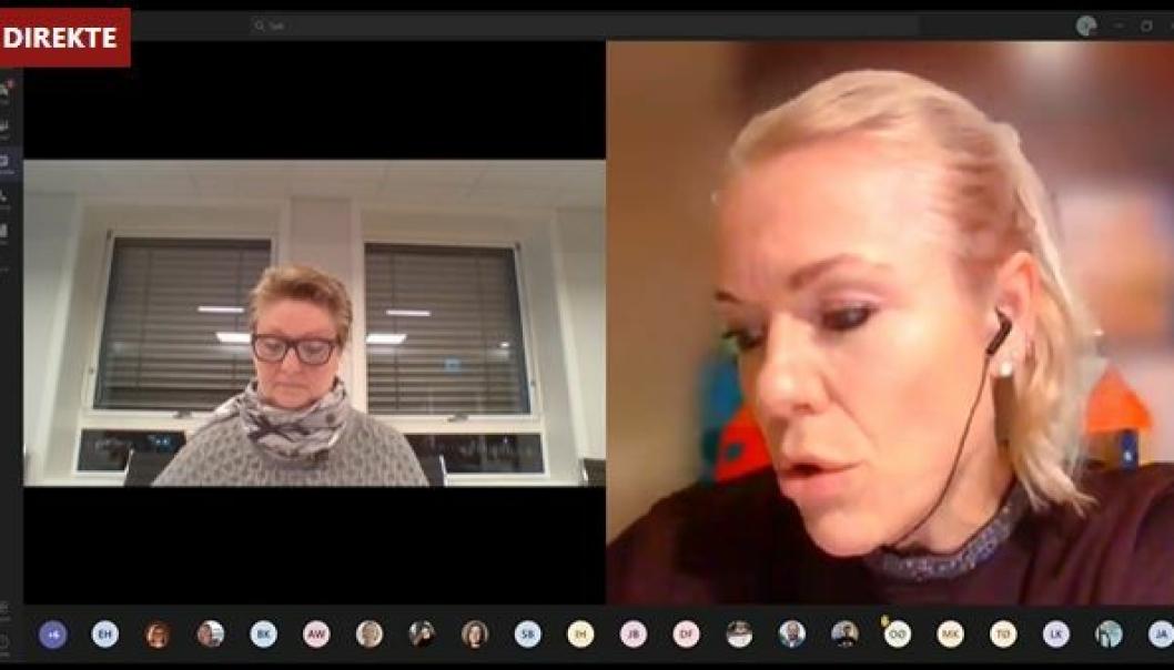DIGITALT MØTE: Formannskapet var samlet i digitalt møte mandag ettermiddag. Her har kommuneoverlege Kerstin Anine Johnsen Myhrvold ordet. Til venstre ordfører Hanne Opdan.