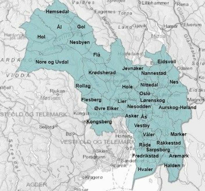 KART OVER VIKEN OG OSLO: Rundt 25 prosent av hele Norges befolkning (cirka 1,2 millioner mennesker i 51 kommuner) bor i det som heter Viken. Kart: Fylkesmannen.no