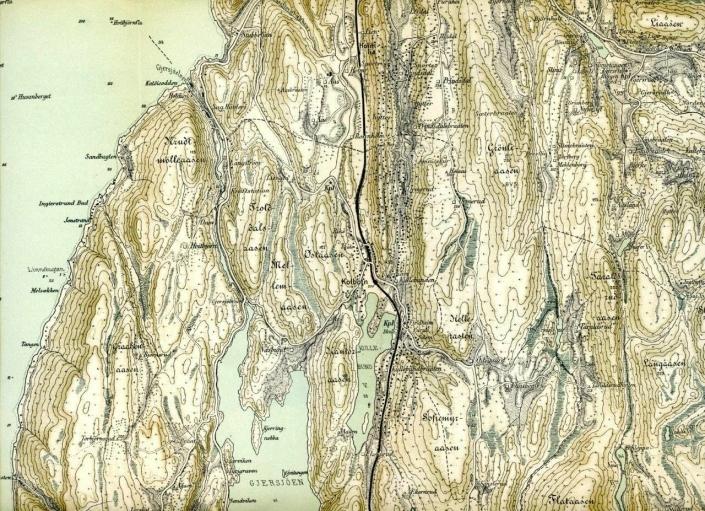 KOMMUNEGRENSEN I 1885: Til venstre for den svarte linjen ser du tidligere Oppegård kommune, ifølge topografisk kart over Oslo og omegn fra 1885, revidert i 1934. Kilde: Norges Geografiske Oppmålingskarter.