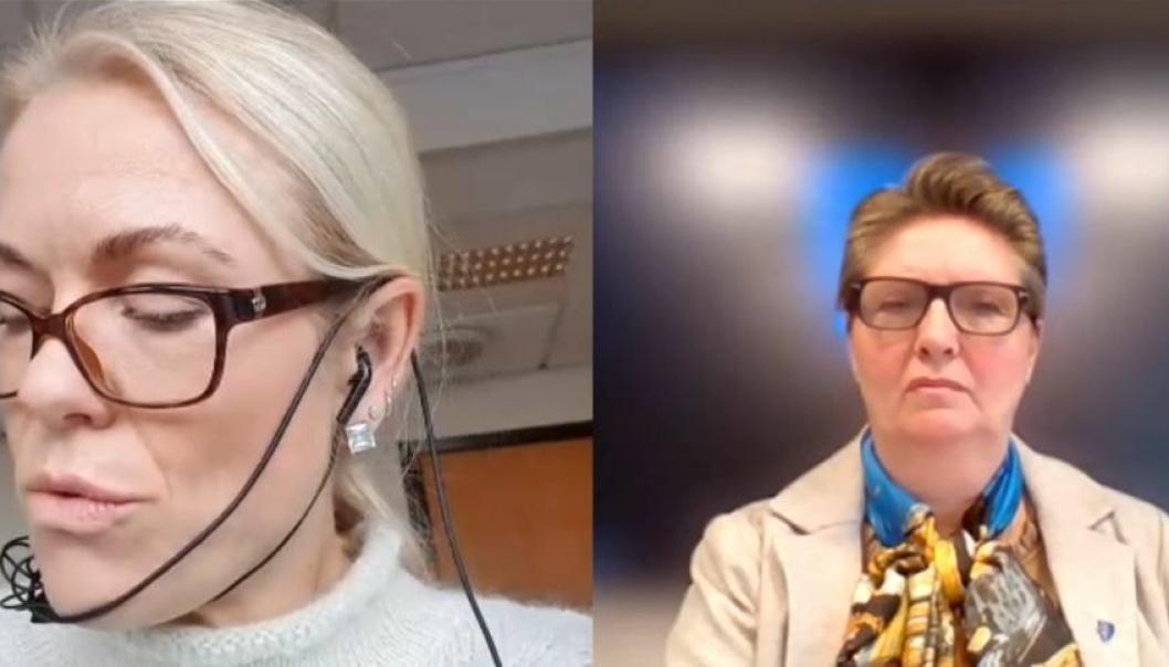 KLAR TALE: Kommuneoverlege Kerstin Anine Johnsen Myhrvold (t.v.) under innledningen i formannskapsmøtet, ledet av ordfører Hanne Opdan.