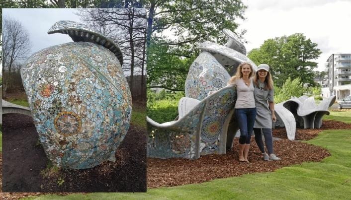 SKRIKER ETTER VEDLIKEHOLD: Hovedbildet er fra sommeren 2016 og viser kunstnerne Vilde Vegem og Katrina Vrebalovich, som samarbeidet om skultpturen «Hjerterom» i Generasjonsparken. Innfelt ser du delen av skulpturen slik den ser ut i dag. Foto: Yana Stubberudlien