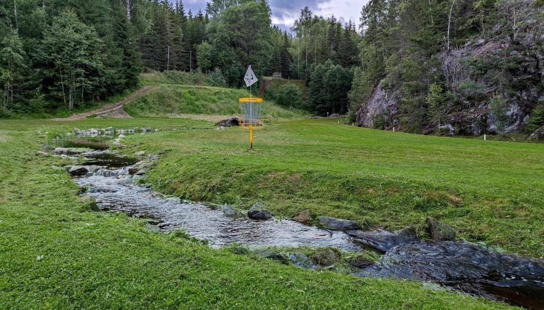 POPULÆRT: Frisbeegolf har blitt en populær aktivitet. Dette bildet er fra banen på Krokhol.