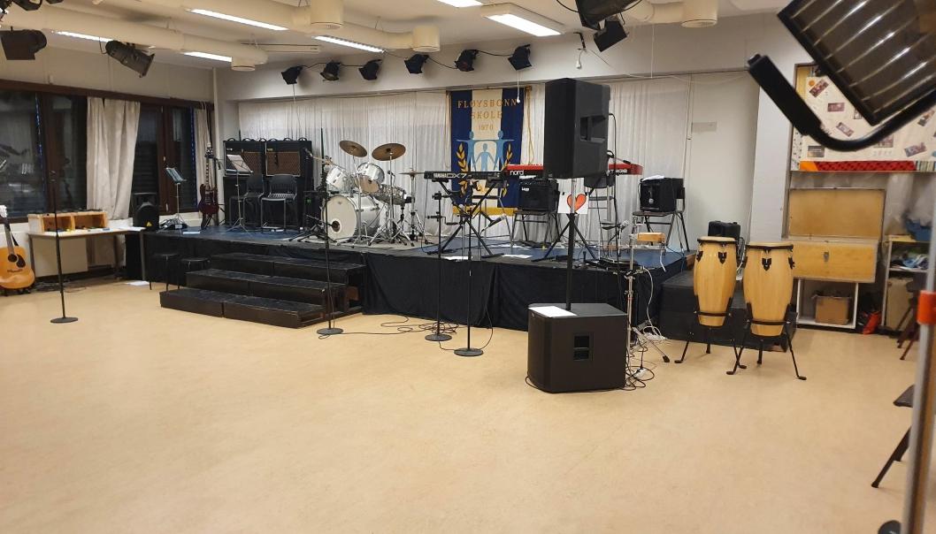 ETT AV DE TRE MUSIKKROMMENE: Ungdomsskolen har tre musikkrom.
