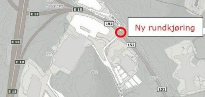 NY RUNDKJØRING: Ny rundkjøring nord i Lienga og Mastemyrveien skal ferdigstilles i mai-juni 2021.