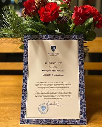 ÅRETS ILDSJEL: Torsdag 10. desember mottok Elisabeth B. Skaugerum Ildsjelprisen 2020 for stort engasjement og verdifull innsats i Nordre Follo kommune.