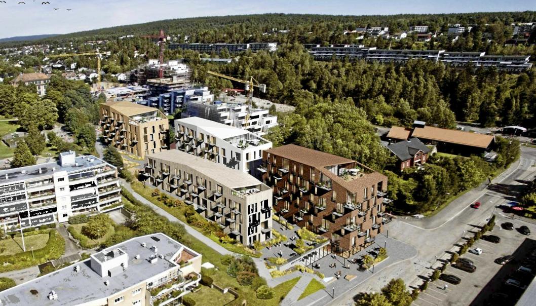 SKOLEBAKKEN: Det skal bygges 110 boliger vest for Kullebunden gård. Illustrasjon: Dark Arkitekter AS