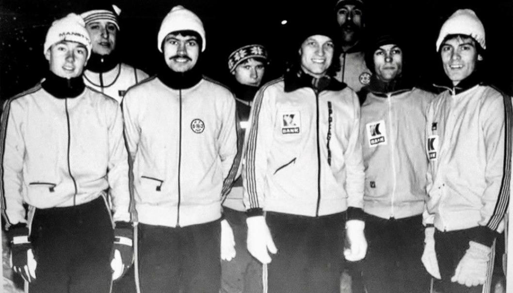 GOOD OLD DAYS: Oppegård IL hadde et sterkt lag på 80-tallet. Bjørn Nordheggen er helt til høyre. De øvrige på bildet fra venstre mot høyre er Even Tveter, Geir Hovland, Tron Gifstad, Geir Haugen, Sigurd Dancke, Morten Thorgersen og John Ytternes.
