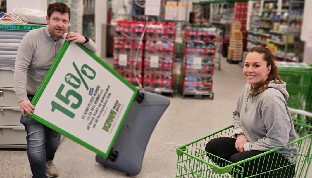 KLARE FOR ÅPNING: Regionsjef Tore Hartmann, butikksjef Malene Lindberget og alle de andre ansatte har stått på de siste ukene. Torsdag åpner den nye Kiwi-butikken på Sofiemyr.