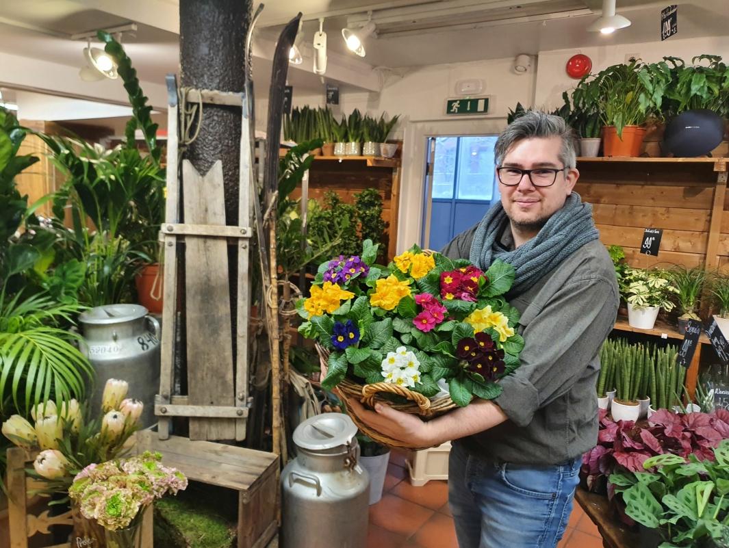 KOMMER MED TIPS: – Det er på tide å bytte ut alle juleblomstene med noe nytt. Du kan velge alt fra den fargerike primula til grønne inneplanter, og det finnes mange snittblomster som du kan sette inn i vaser i tillegg, blant annet tulipaner i nydelige pastellfarger, sier blomsterdekoratør Roy-André Reppen. Foto: Yana Stubberudlien