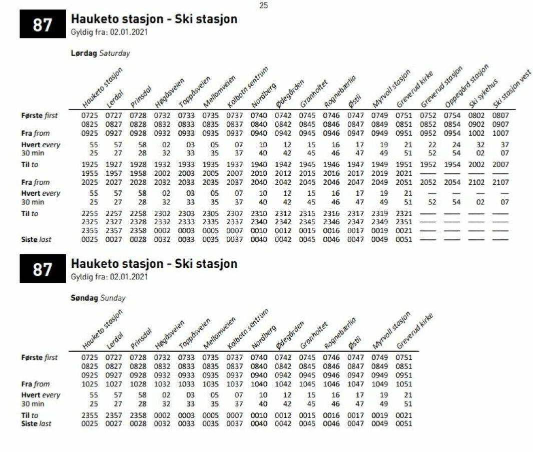 FRA KOLBOTN TIL SKI OG TILBAKE: Sjekk de nyeste rutetabellene for busslinjen 87. Gjelder fra 2. januar 2021 og inntil videre. Kilde: Ruter.no