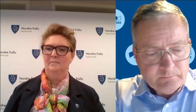 KRAFTSALVE: Høyres Knut Oppegaard var klokkeklar da han i det digitale kommunestyremøtet kritiserte administrasjonen for måten skolebrukssaken er behandlet til nå. Til venstre ordfører Hanne Opdan.