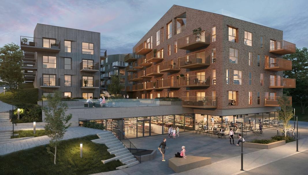 SLIK SKAL DET BLI: Dette er ett av bildene som illustrerer hvordan det nye Skolebakken K-prosjektet blir når det står ferdig.