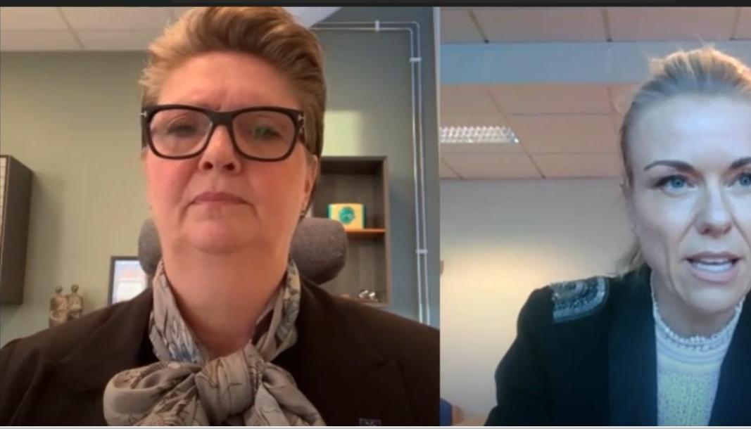 PRESSEKONFERANSE: Ordfører Hanne Opdan (t.v.) og kommuneoverlege Kerstin Anine Johnsen Myhrvold holdt digital pressekonferanse torsdag ettermiddag.